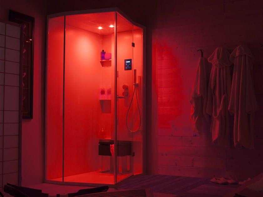 Box doccia angolare con porte a battente per cromoterapia welldream box doccia per - Box doccia cromoterapia ...