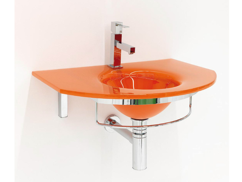 Contemporary style wall-mounted crystal washbasin with integrated countertop with towel rail UNIK 7 - LASA IDEA