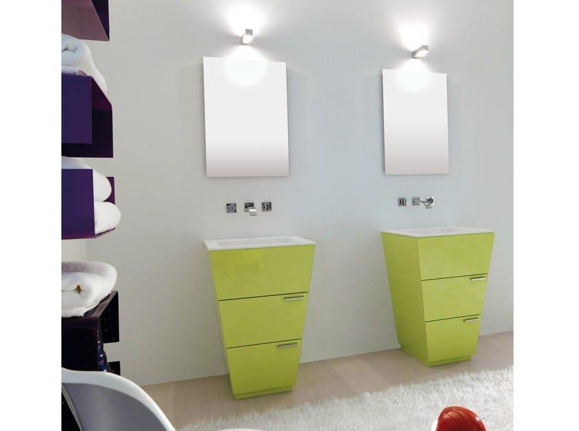 Lacquered single vanity unit with drawers LIBECCIO 10 by LASA IDEA