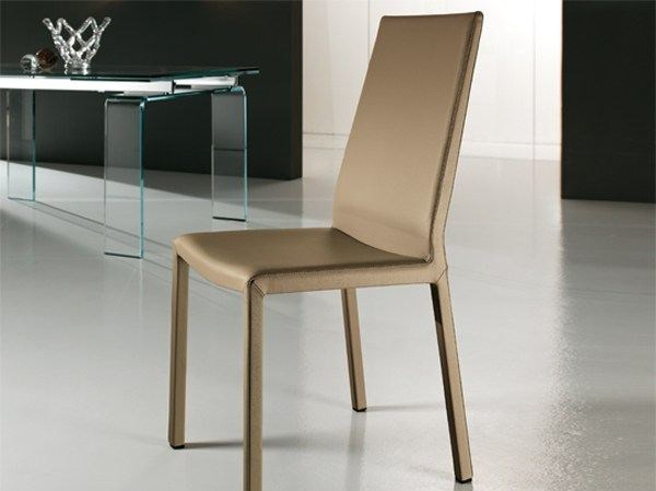 Leather restaurant chair EVA | Leather chair - RIFLESSI