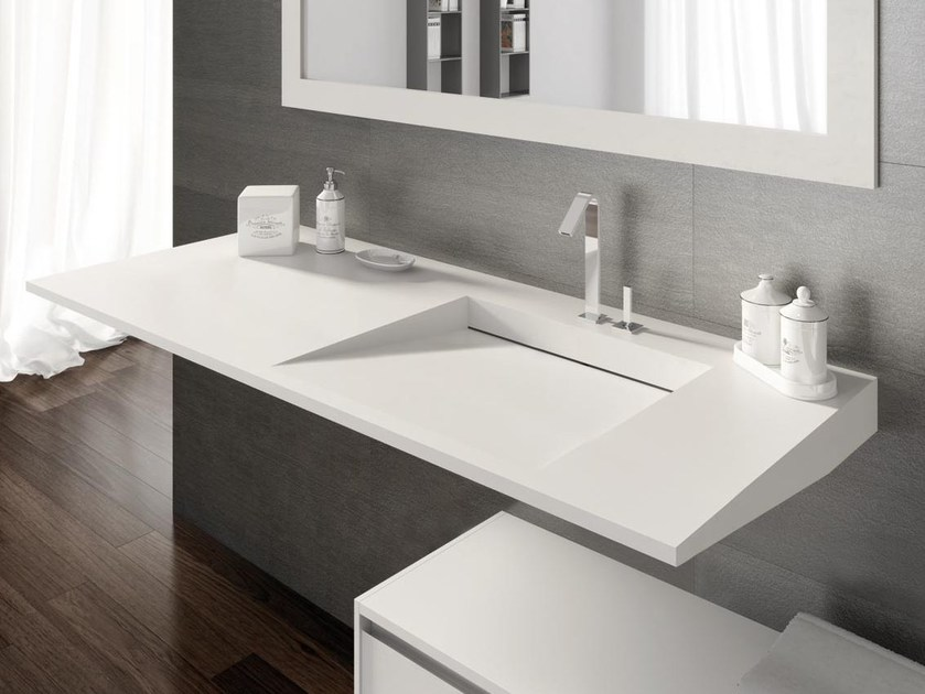 Rectangular single washbasin with integrated countertop FLOW 20 by LASA IDEA