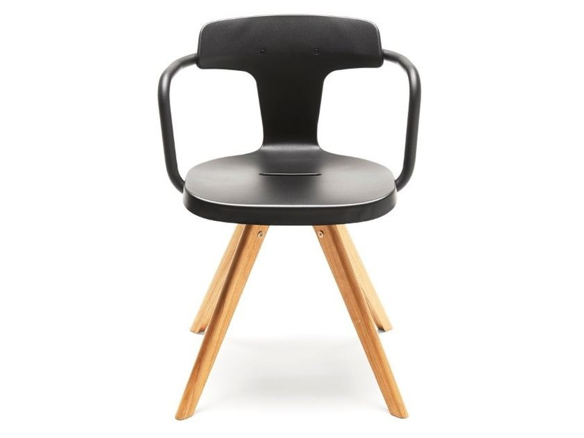 Stainless steel and wood chair T14 | Wooden chair - Tolix Steel Design