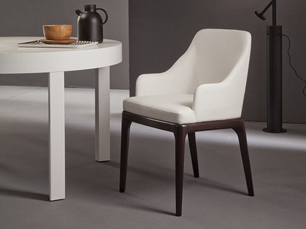 Upholstered restaurant chair with armrests MARGOT - RIFLESSI