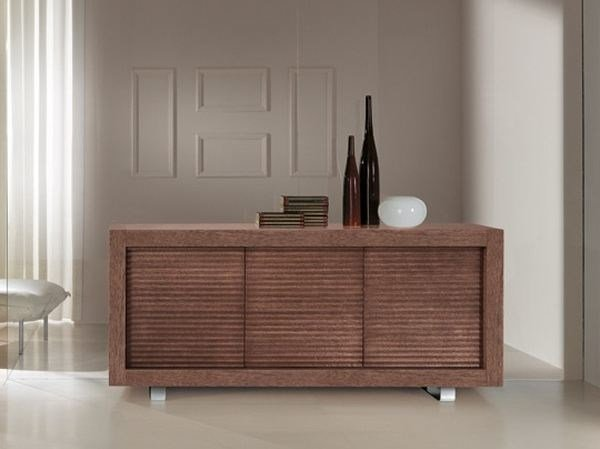 Wooden sideboard with doors PICASSO | Undulated Door - RIFLESSI