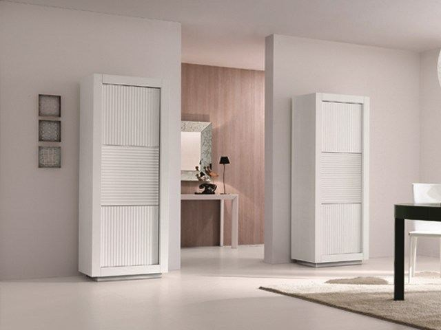Wooden highboard with doors PICASSO Undulated Door | Highboard - RIFLESSI