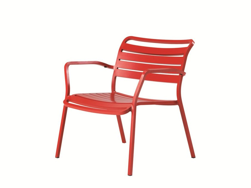 Stackable aluminium garden chair with armrests OCEAN | Garden chair - Ethimo