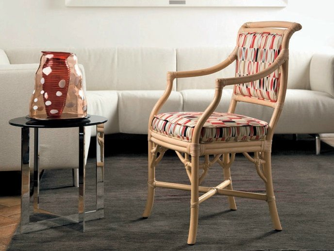 Upholstered rattan chair with armrests GIULIANA | Chair with armrests - Dolcefarniente by DFN