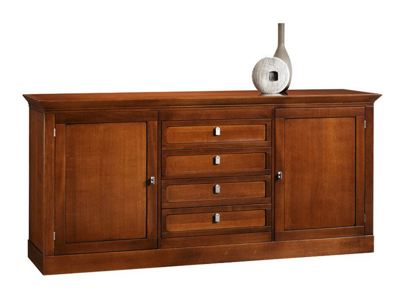Wooden sideboard with drawers with doors SOPHIA | Wooden sideboard - SELVA