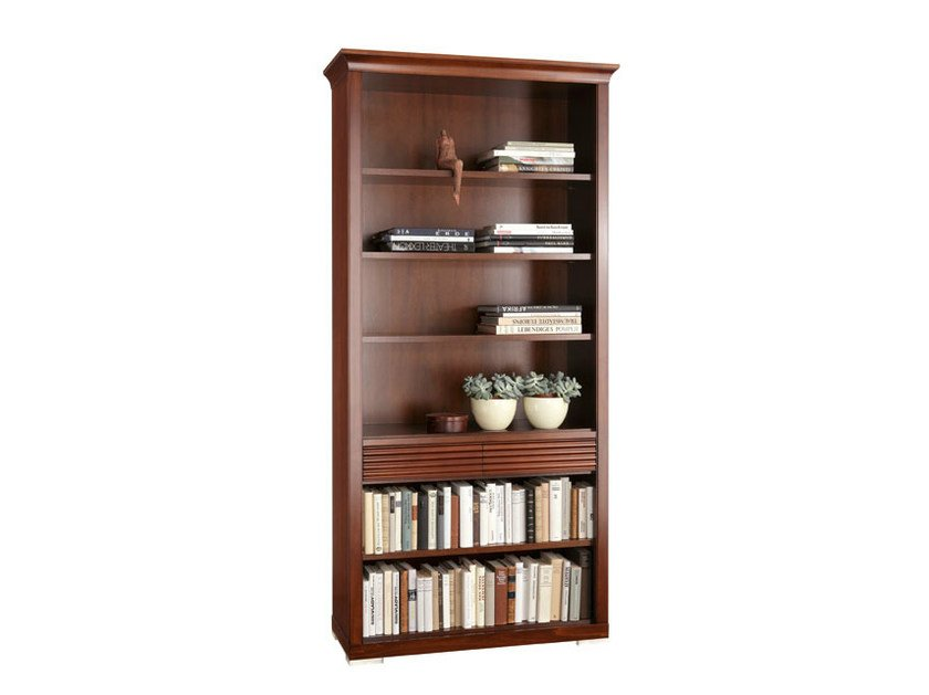 Wall-mounted wooden bookcase with drawers LUNA | Bookcase with drawers - SELVA