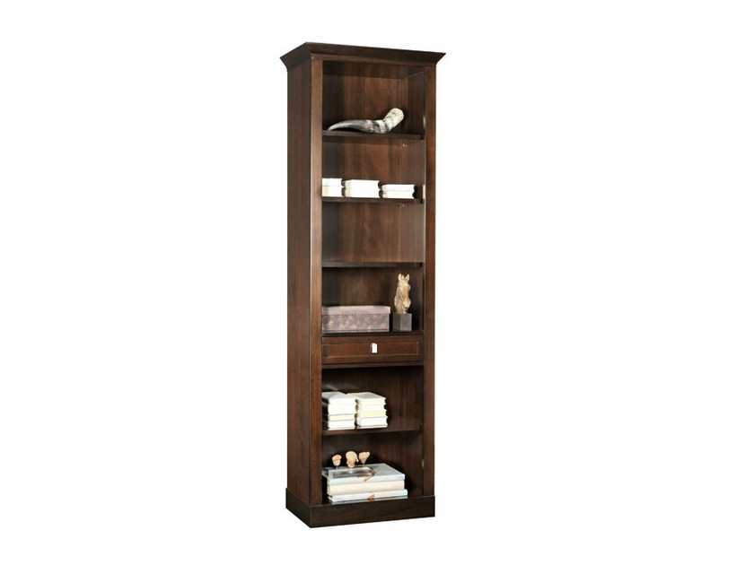Wall-mounted wooden bookcase with drawers SOPHIA | Wall-mounted bookcase - SELVA