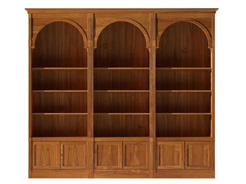 Sectional modular cherry wood bookcase DIRETTORIO | Modular bookcase - Morelato