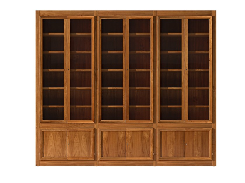 Sectional cherry wood bookcase MASCHERA | Bookcase - Morelato