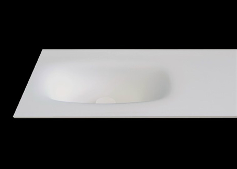 Oval washbasin with integrated countertop PLANO WB5 - RIFRA