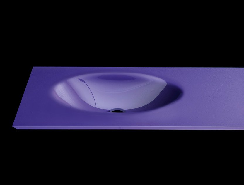 Oval washbasin with integrated countertop PLANO WB6 - RIFRA