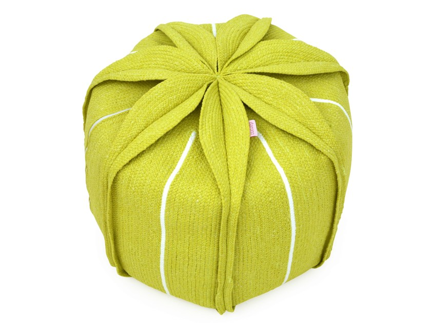 Upholstered technical fabric pouf with removable lining EUCHARIS - Darono