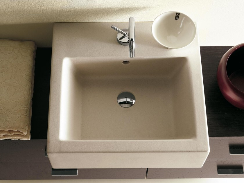 Countertop square travertine washbasin COMPOS   Square washbasin - LASA IDEA