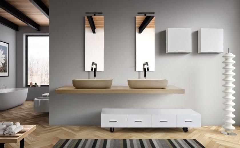 Mobile bagno basso con cassetti con ruote mariposa 29 lasa idea - Idea mobili bagno ...