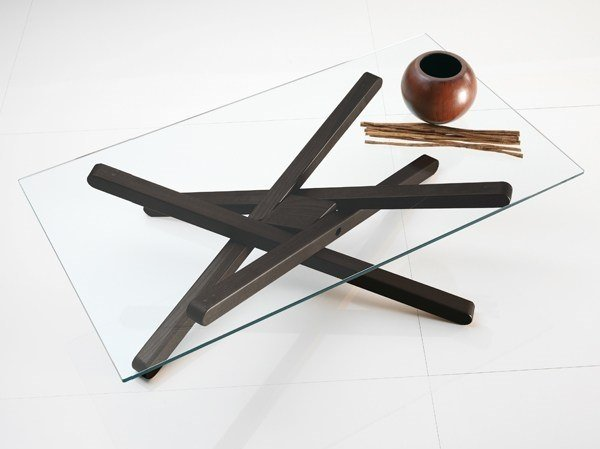 Low wood and glass coffee table SHANGAI | Low coffee table - RIFLESSI
