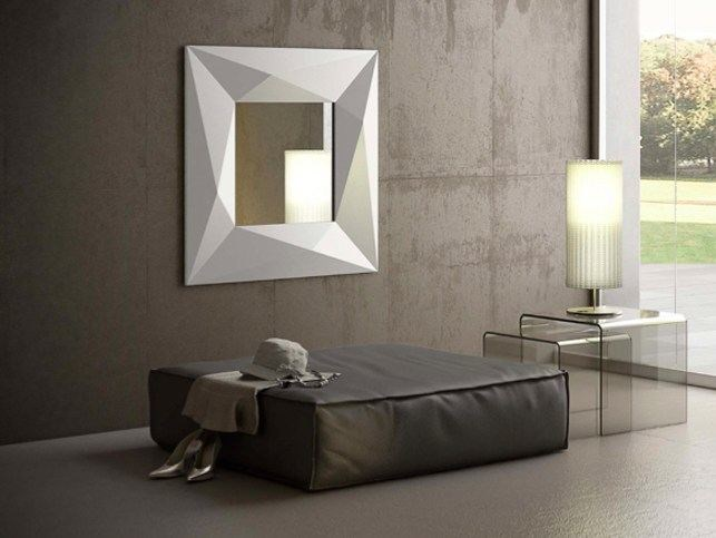 Wall-mounted framed mirror DIAMOND | Square mirror by RIFLESSI
