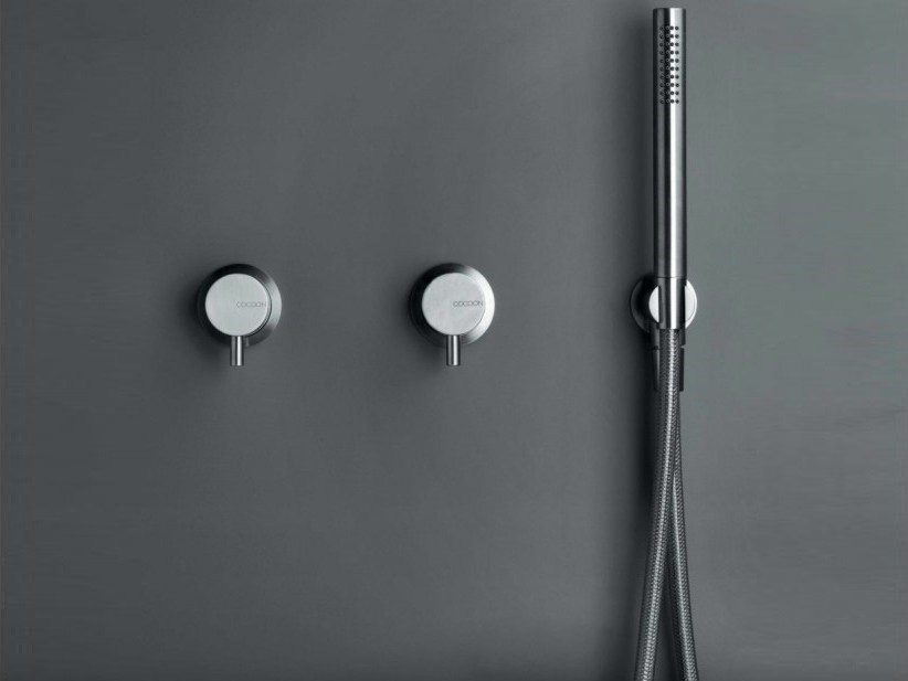 3 hole stainless steel shower/bath mixer with hand shower COCOON MONO SET28 by COCOON