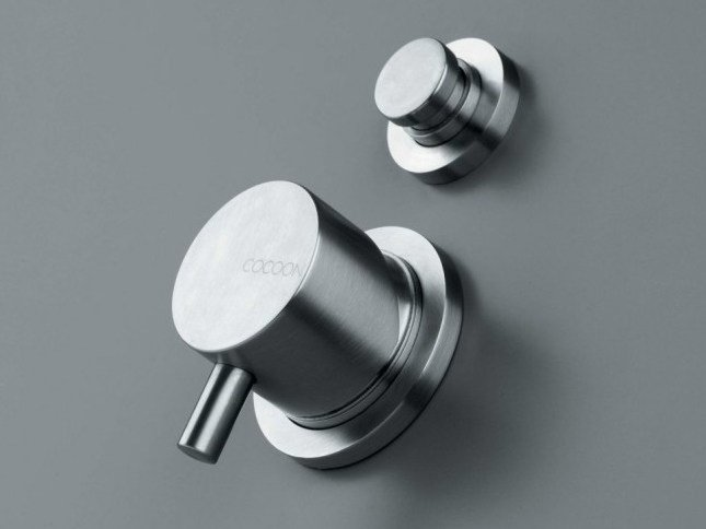Stainless steel shower/bath mixer with diverter COCOON MONO 02 - COCOON