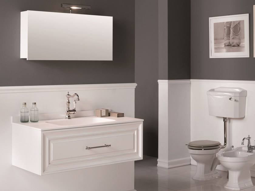 Wall-mounted vanity unit with mirror CHARME 2 - BLEU PROVENCE