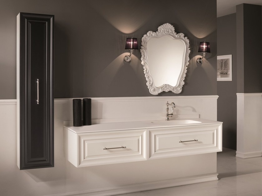 Double vanity unit with mirror CHARME 3 - BLEU PROVENCE