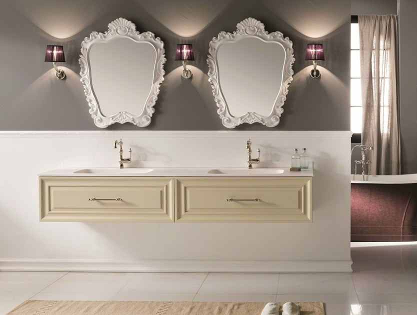 Double vanity unit with mirror CHARME 5 - BLEU PROVENCE