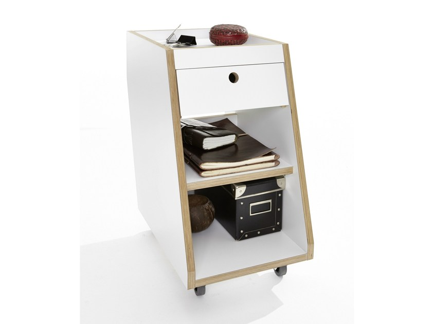 Wooden office drawer unit with casters SLOPE - Müller Möbelwerkstätten