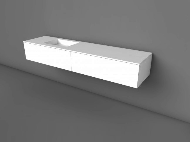 Wall-mounted Solid Surface® vanity unit with drawers COCOON HIDDEN 50 | Solid Surface® vanity unit - COCOON