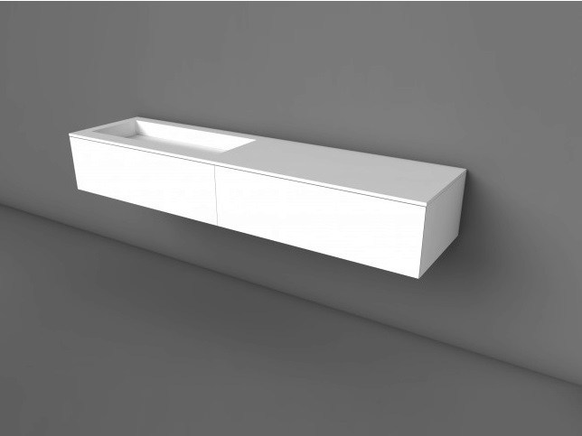 Wall-mounted Solid Surface® vanity unit with drawers COCOON HIDDEN 90 | Solid Surface® vanity unit - COCOON