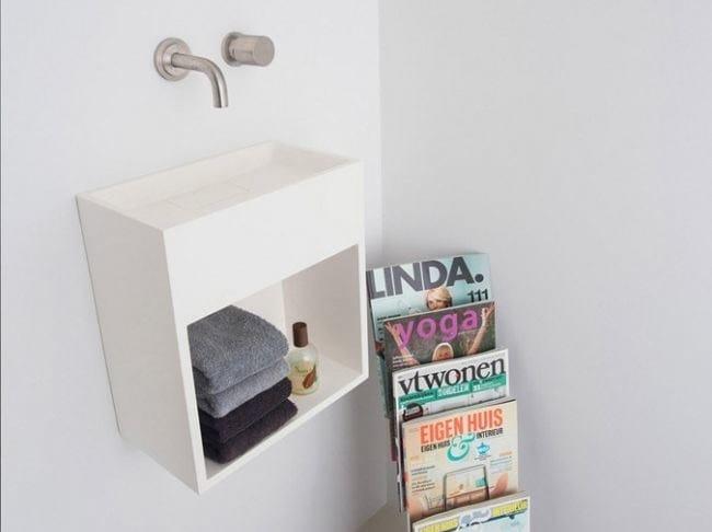 Wall-mounted Solid Surface® handrinse basin with towel rail COCOON SANT JORDI II - COCOON