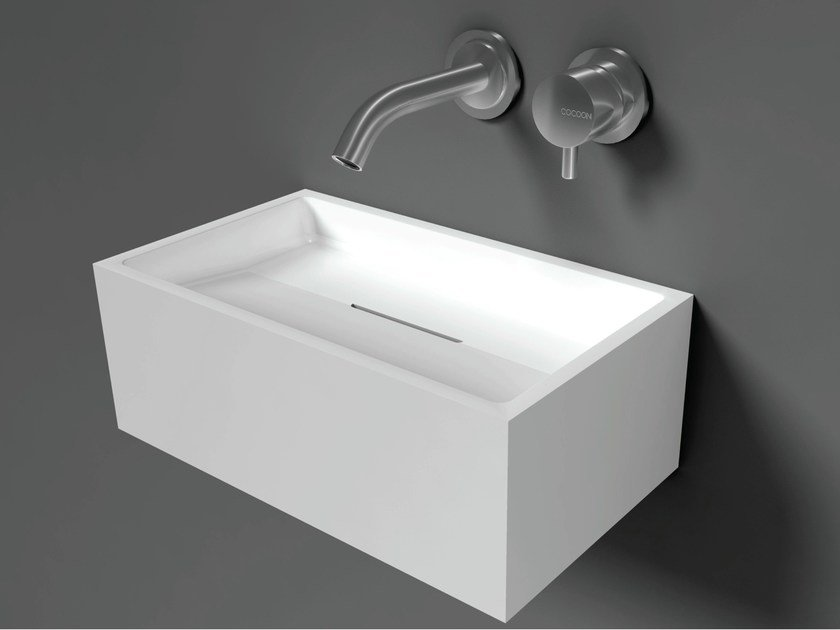 Rectangular wall-mounted Solid Surface® handrinse basin COCOON SANT JORDI I - COCOON
