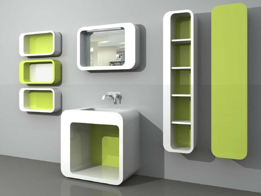 Floor-standing vanity unit with cabinets with mirror UnopuntoZero COMP 2 - LASA IDEA