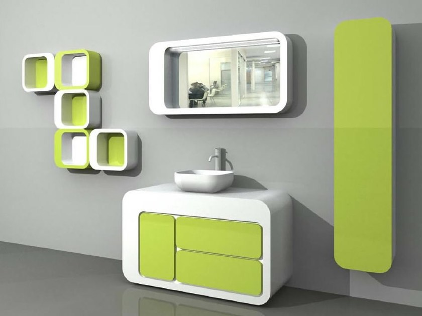Wall-mounted vanity unit with cabinets with drawers UnopuntoZero COMP 6 by LASA IDEA