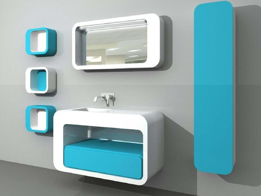 Wall-mounted vanity unit with cabinets with mirror 1.0 COMP 5 - LASA IDEA