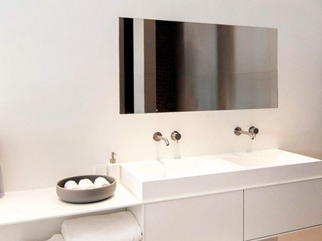 Single Solid Surface® washbasin with integrated countertop COCOON CUSTOM 50 by COCOON