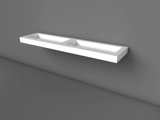 Double wall-mounted Solid Surface® washbasin COCOON CUSTOM 90 - COCOON