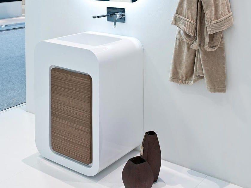 Floor-standing single vanity unit with drawers UNOPUNTOZERO | Vanity unit - LASA IDEA