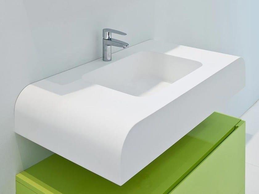 Wall-mounted Solid Surface® washbasin DUEPUNTOZERO | Washbasin - LASA IDEA