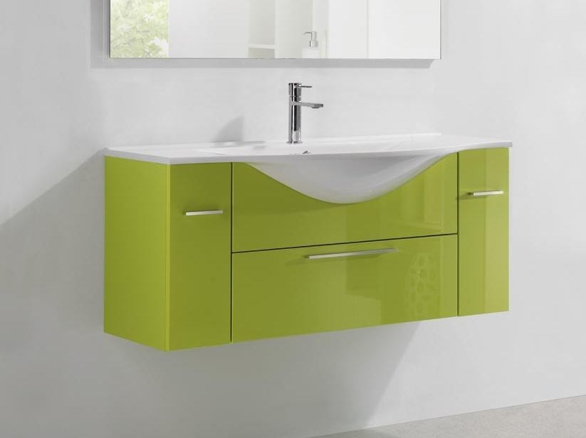 Design lacquered single wooden vanity unit with drawers VANITY 08 - LASA IDEA