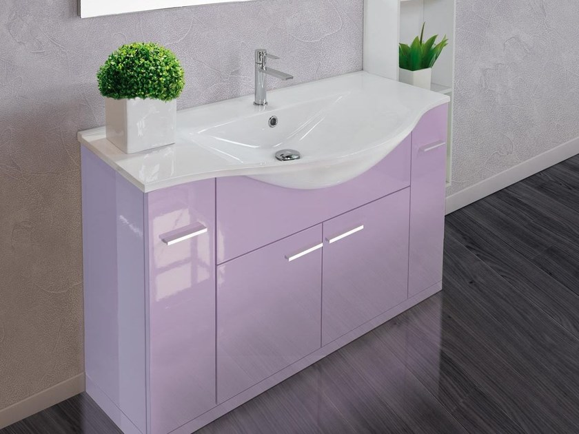 Floor-standing vanity unit with doors with drawers VANITY 09 - LASA IDEA