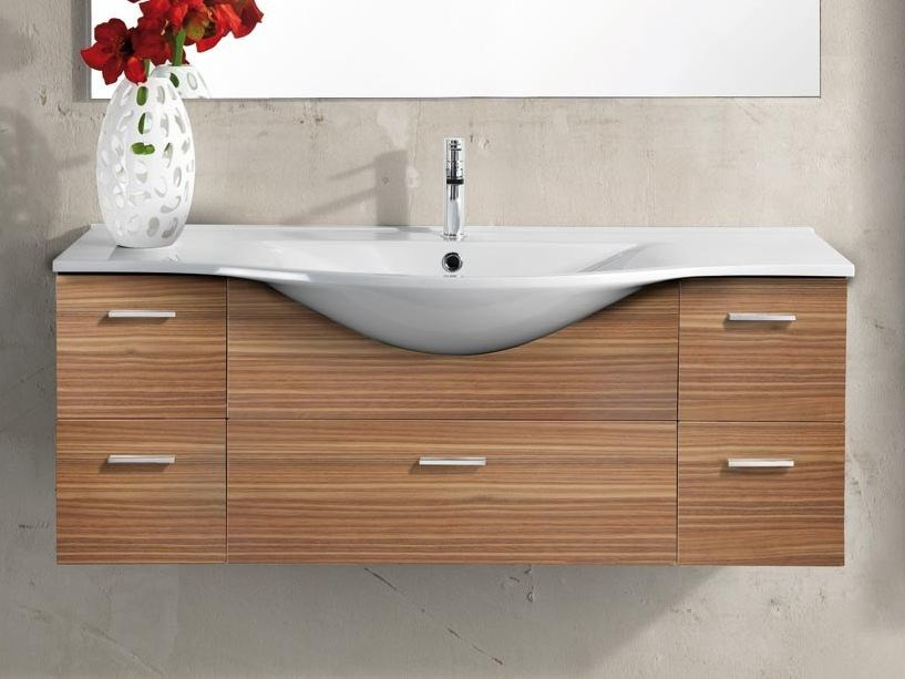 Design single wall-mounted wooden vanity unit with drawers VANITY 11 - LASA IDEA