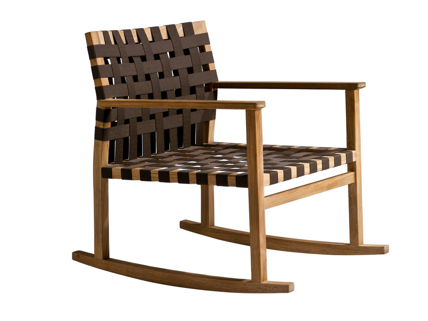 Rocking teak easy chair VIS À VIS | Rocking easy chair - TRIBÙ