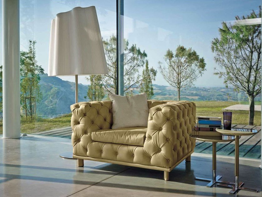 Upholstered leather armchair ASTON by Italy Dream Design