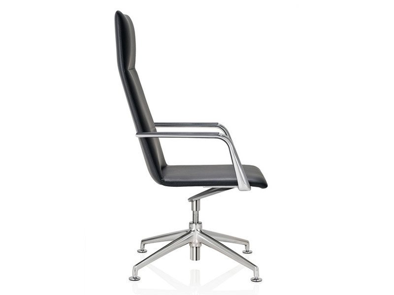 Leather executive chair with 4-spoke base with armrests FINASOFT | Executive chair - Brunner