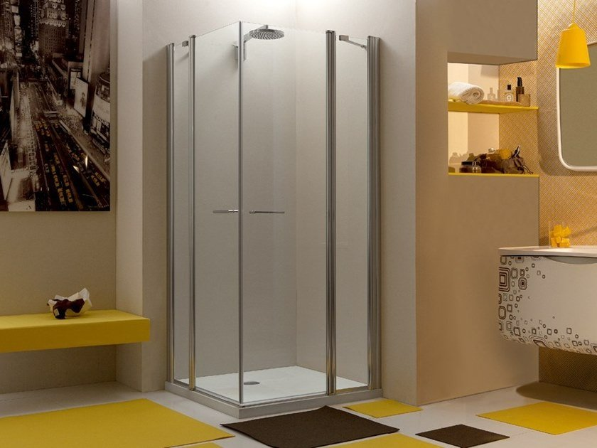 Corner glass shower cabin with hinged door WEB 1.1 A - MEGIUS