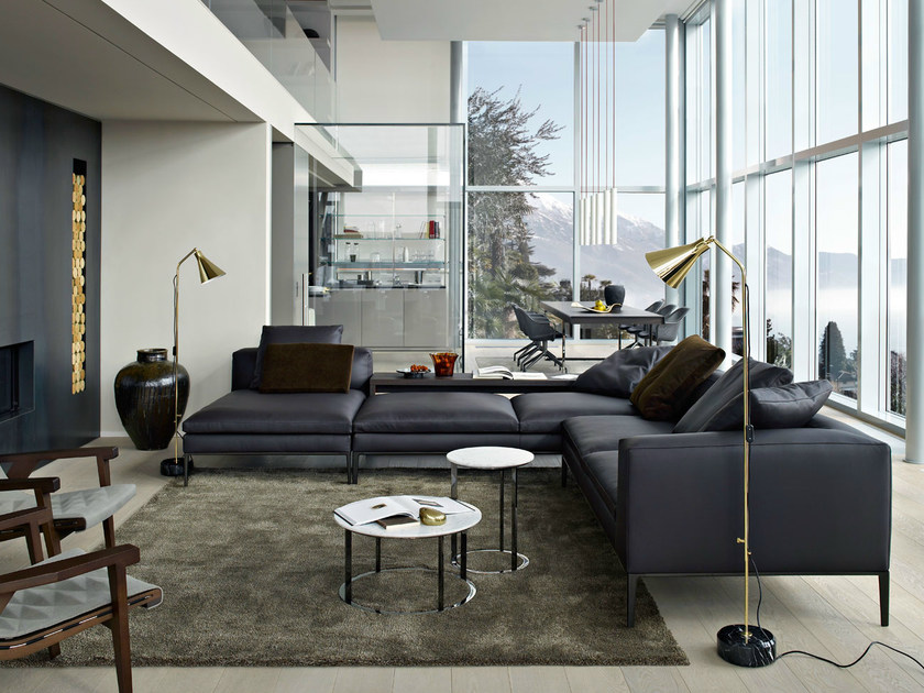 Corner sectional leather sofa MICHEL | Leather sofa - B&B Italia