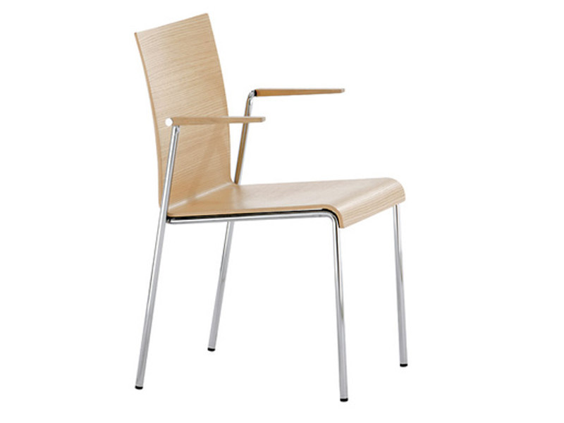 Wood veneer chair with armrests VERONA | Chair with armrests - Brunner