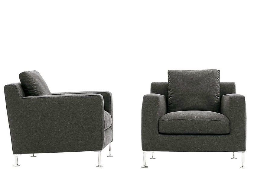 Upholstered fabric armchair with armrests HARRY | Armchair - B&B Italia